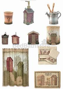 outhouse bathroom decor by linda spivey primitive With outhouse bathroom set