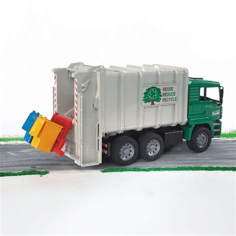 bruder garbage bruder toy garbage truck rear loading green
