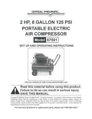 Fillable Online Central Pneumatic Model 67501 manual