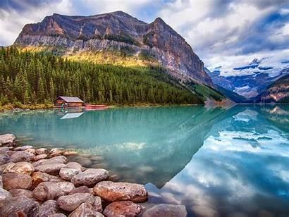Scenery Lake Canada Nature Mountains Banff Louise