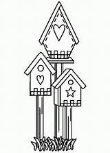 Coloring Bird Pages Birdhouse Drawing Shaped Popular Getdrawings Coloringhome sketch template