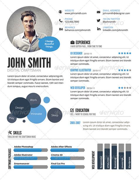 Graphic Resume Templates Free by 25 Infographic Resume Templates Free Premium Collection