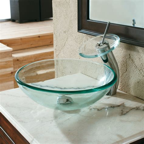 clear tempered glass lavatory sink 15mm thick bathroom