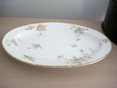 Theodore HAVILAND/LIMOGES FRANCE Oval Ivory w PINK FLORAL