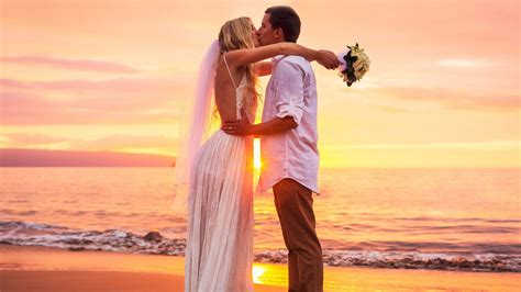 kiss  sunset cute couple marriage newly married images