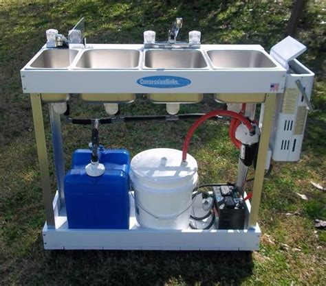 portable sink mobile concession 3 compartment hot water