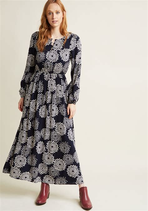 dahlia printed sleeve maxi dress modcloth