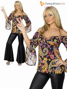 Ladies Hippy Fancy Dress Costume Hippie Womens 1970s 60's ...