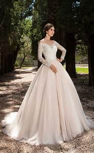 2017 new arrival illusion lace long sleeve v neck a line With long sleeve illusion wedding dress