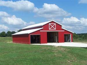 Red metal sided barn metal buildings houses and tin for Aluminum pole barn