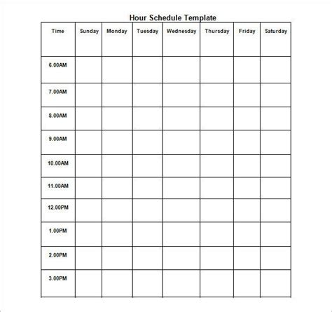 hourly schedule template   sample  format