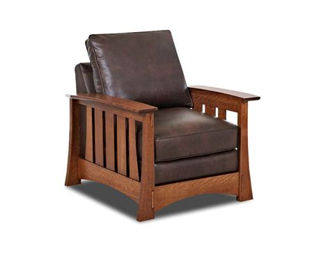 mission style leather chair american made highlands cl7016c