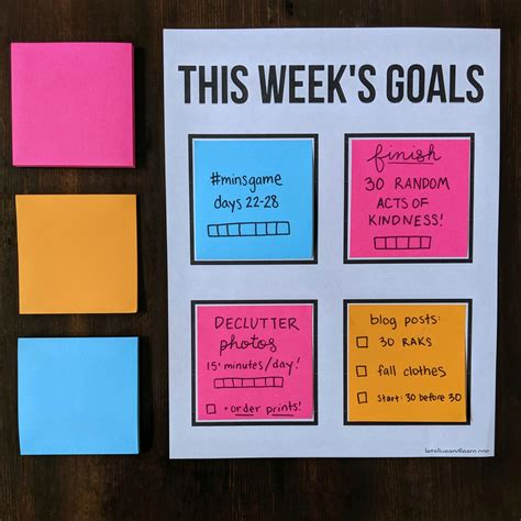 post  note goal setting printable template lets