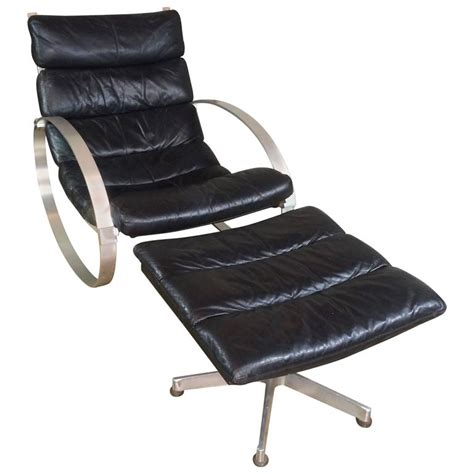 hans kaufeld leather rocking chair and ottoman for sale at