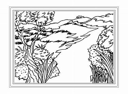 Coloring Landscape Adults Adult Landscapes Scenery Printable