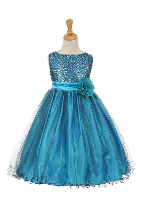 turquoise multi sequin color tulle flower girl dress