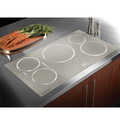 stainless steel stove and refrigerator zhu36rsjss monogram 36 quot induction cooktop the monogram