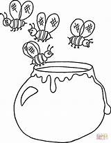 Honey Coloring Pot Pages Ukrainian Ukraine Printable Jar Bee Template Clipart Apple Drawing sketch template