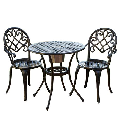 Small Outside Table And Chairs by Cast Aluminum Brown Bistro Set With Patio