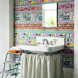 Funky wallpapered bathroom