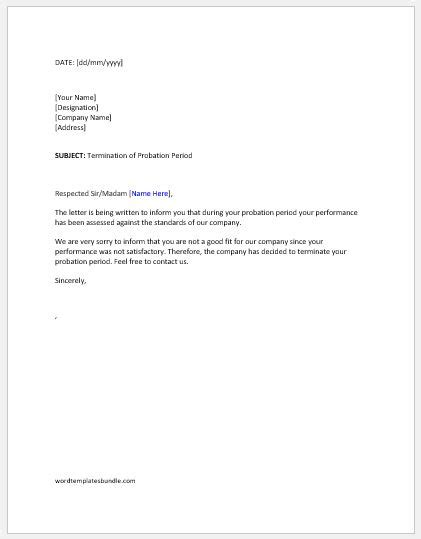 Termination Of Employment Letter Within Probationary Period - Letter
