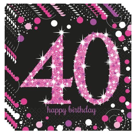 ballonsupermarkt onlineshop de geburtstagsservietten zum 40 geburtstag pink celebration