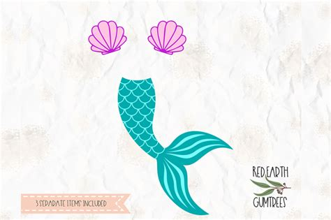 Mermaid Tail, Clam, Shell Cut File In Svg, Dxf, Png, Pdf