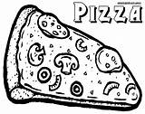 Pizza Coloring Pages Slice Print Food sketch template