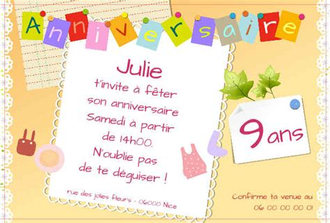 Invitation Anniversaire 6 Ans Carte Invitation Originale