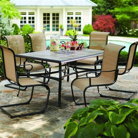 patio furniture 7 dining set hton bay belleville 7 patio dining set fcs80198st