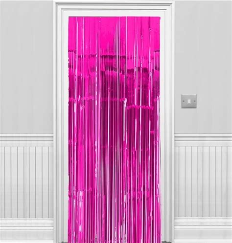 Pink Foil Fringe Curtain by Bright Pink Metallic Fringed Door Curtain Supplies
