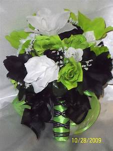 Wedding Bridal Bouquet Lime Green Black White Lily Silk ...