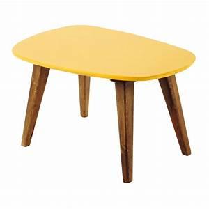 Table Basse Vintage En Bois Jaune L 75 Cm Janeiro