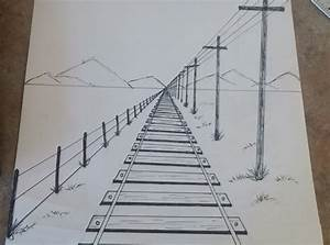 How To Draw A 1-point Perspective Railroad