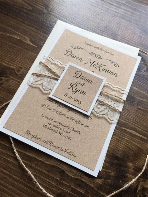 Rustic Wedding Invitation Vintage Wedding Invitation
