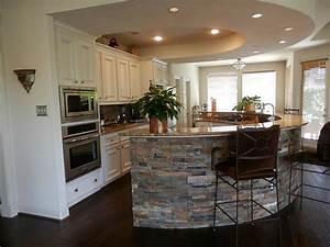 Kitchen : Magnificent Curved Stone Kitchen Island Plus