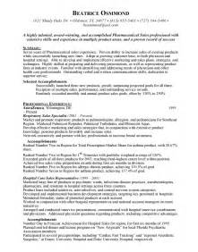 pharmaceutical sales representative objective resume pharmaceutical sales resume sle free resumes