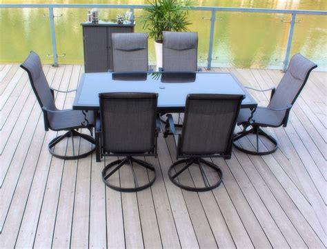 patio table with 6 chairs pebble lane living 7 piece patio dining set with cast