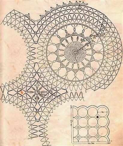 Crochet Tablecloth Patterns Pattern Motif Diagrams Crocheted