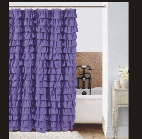 Pink And Purple Ruffle Curtains by Watterfall Ruffle Fabric Shower Curtain Color Purple Ebay
