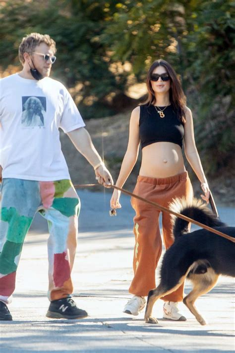 emily ratajkowski bares her baby bump in a black crop top ...