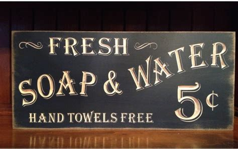 custom carved wooden sign fresh soap water hand towels free