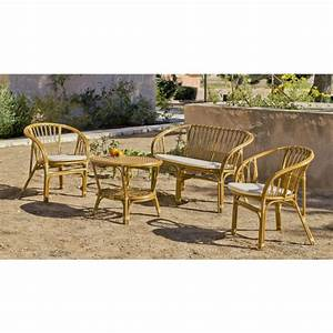 Salon De Jardin Rotin Naturel : salon de jardin en rotin naturel nilfisk 1 sofa 2 fauteuils avec coussins et 1 table basse ~ Melissatoandfro.com Idées de Décoration