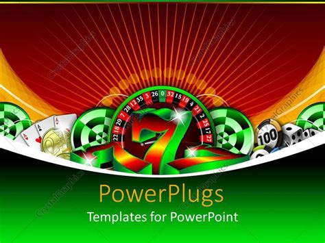 powerpoint template gambling icons casino chips lucky