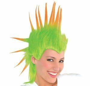 Black Light Neon Green & Orange Mohawk Wig Party City