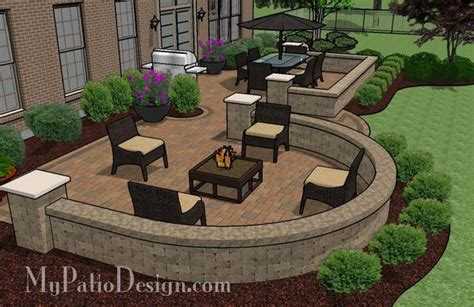 beautiful backyard patio design  seat wall