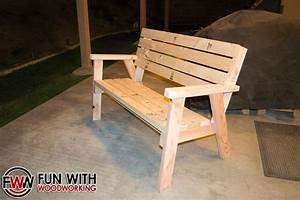 Park Bench with a reclined seat made out of 2x4's - by Fun
