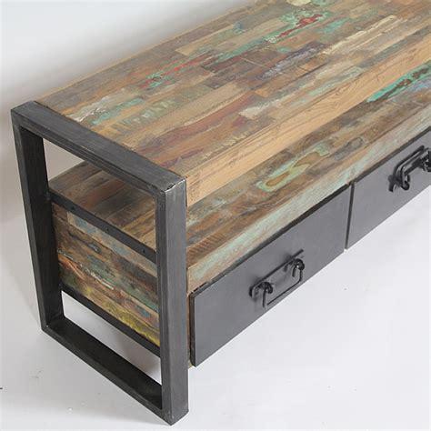 bon fauteuil de bureau meuble tv industriel bois et métal 3 tiroirs madeinmeubles