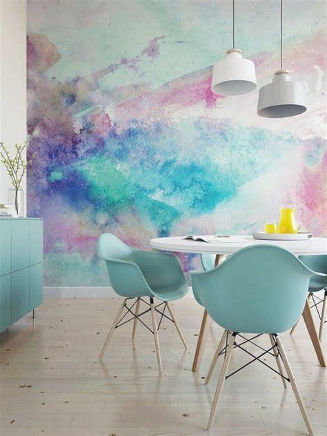 cool tones watercolor wall mural artistic peel  stick