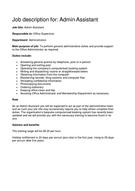 sample of resume with job description administrative assistant job description sample